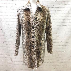 Blanc Noir Leopard Print Coat Button Down Size M